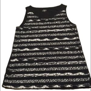Ann Taylor Loft Black and White Lacey Tank Top